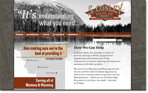 photo of S. conley sales inc. website homepage designed by Keri Thorpe Design