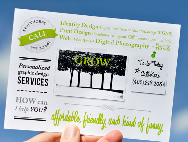Identity Design, logos, business cards, brochures, ad layout, promotional mailers, WordPress, digital photography. Personalized graphic design services. Call Keri 406.223.2084